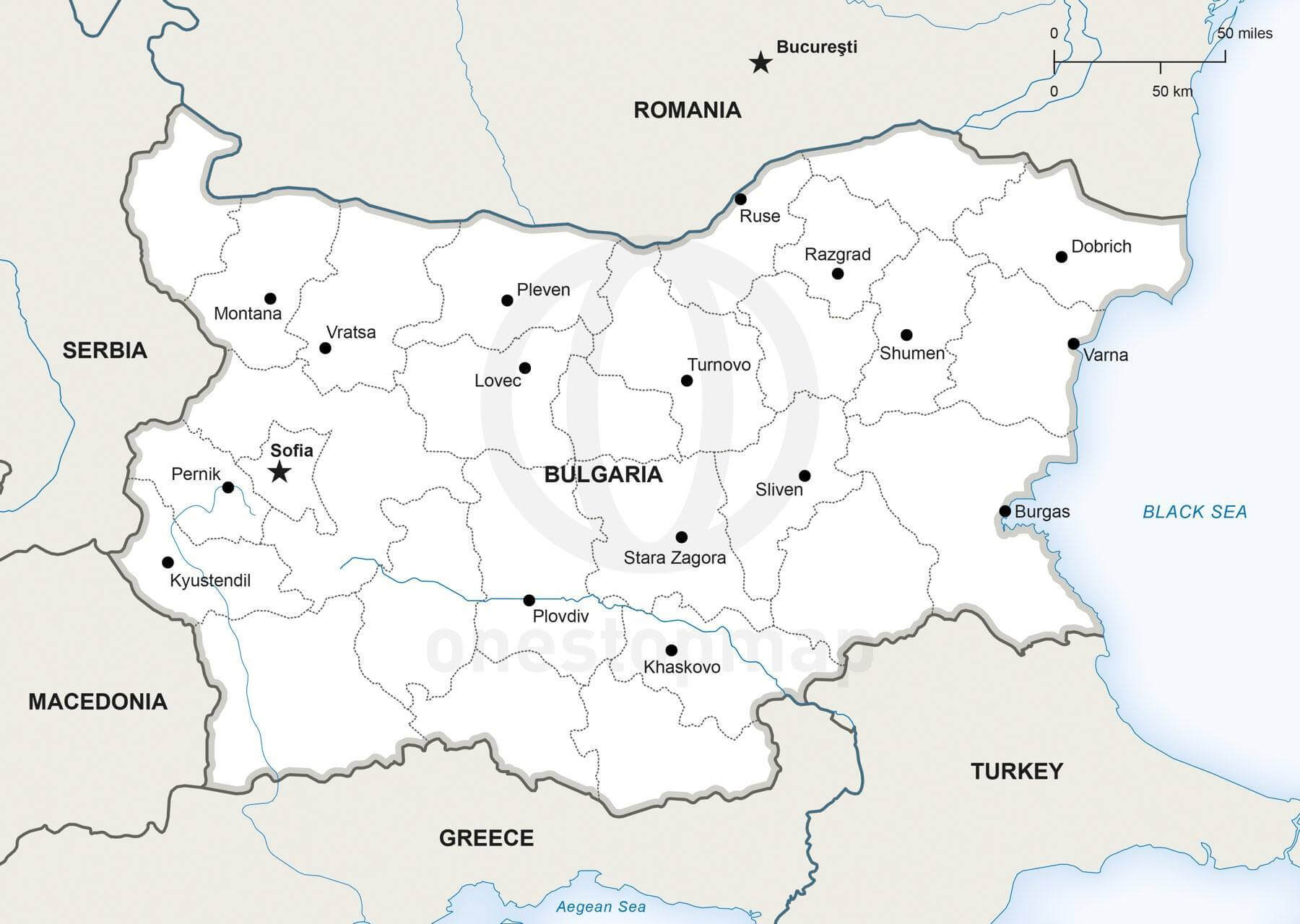 Vector Map of Bulgaria Political One Stop Map