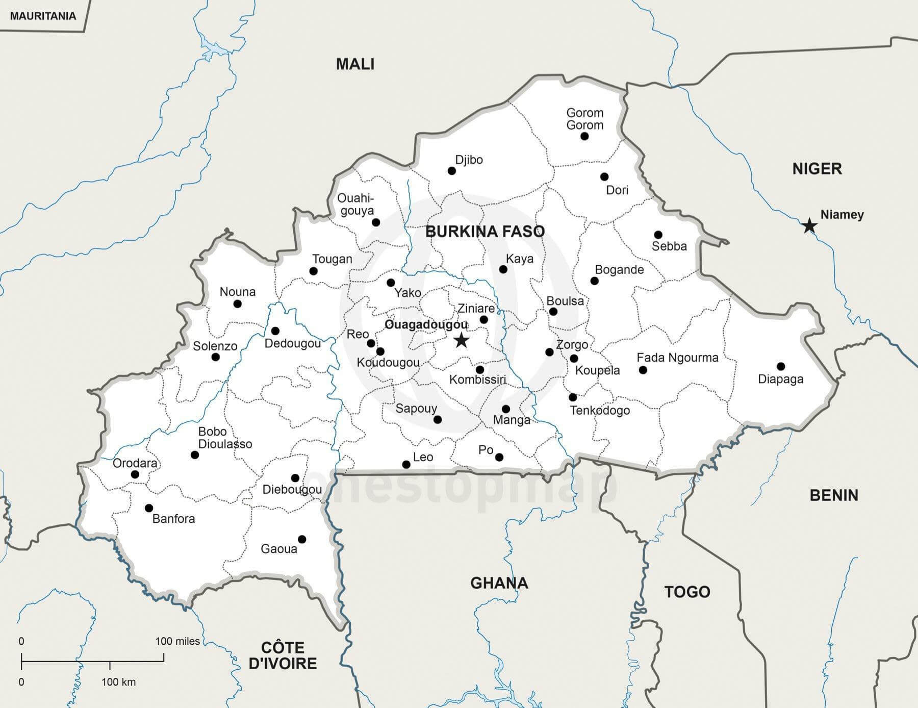 Vector Map of Burkina Faso Political | One Stop Map