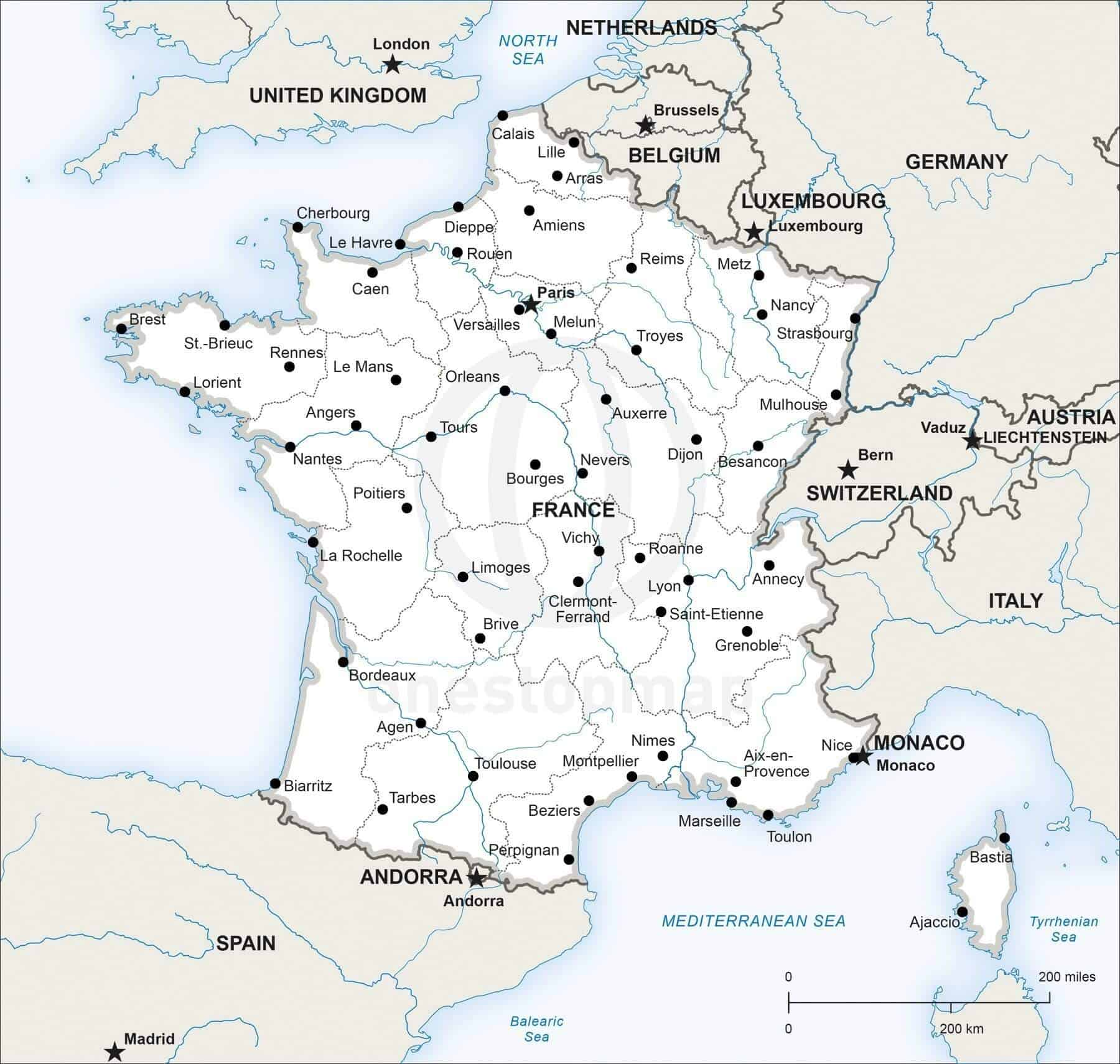 Vector map of france political one stop map for Map of france