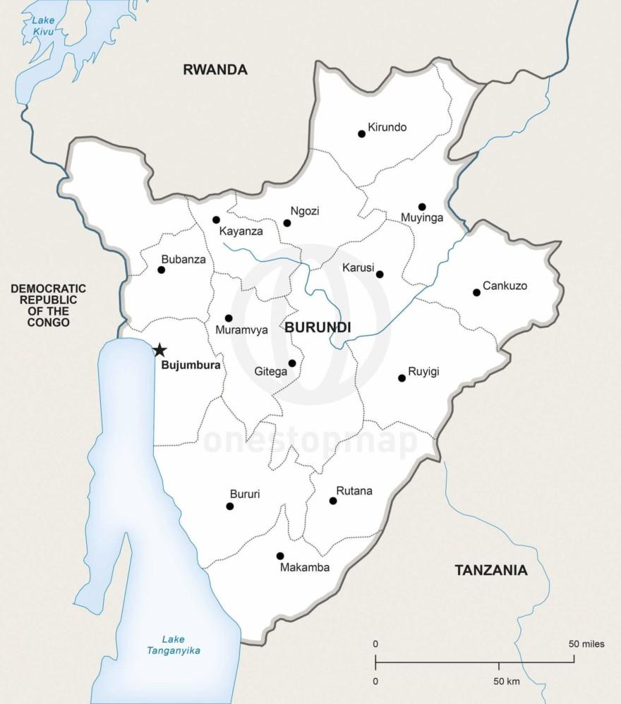 Map of Burundi political