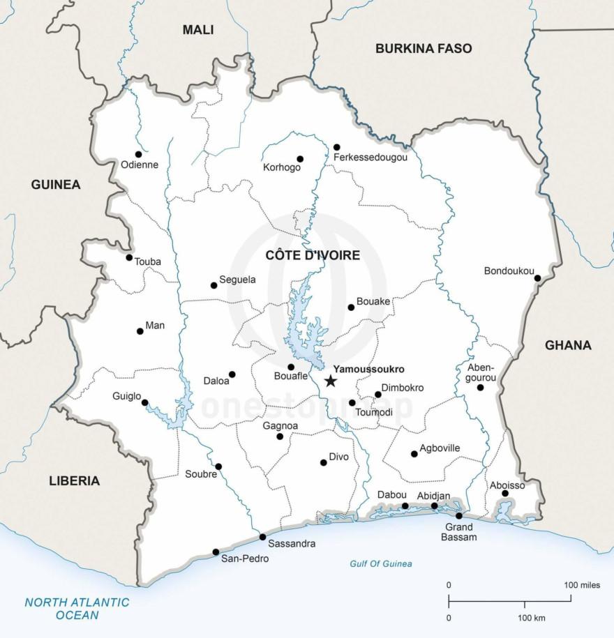Map of Côte d'Ivoire political