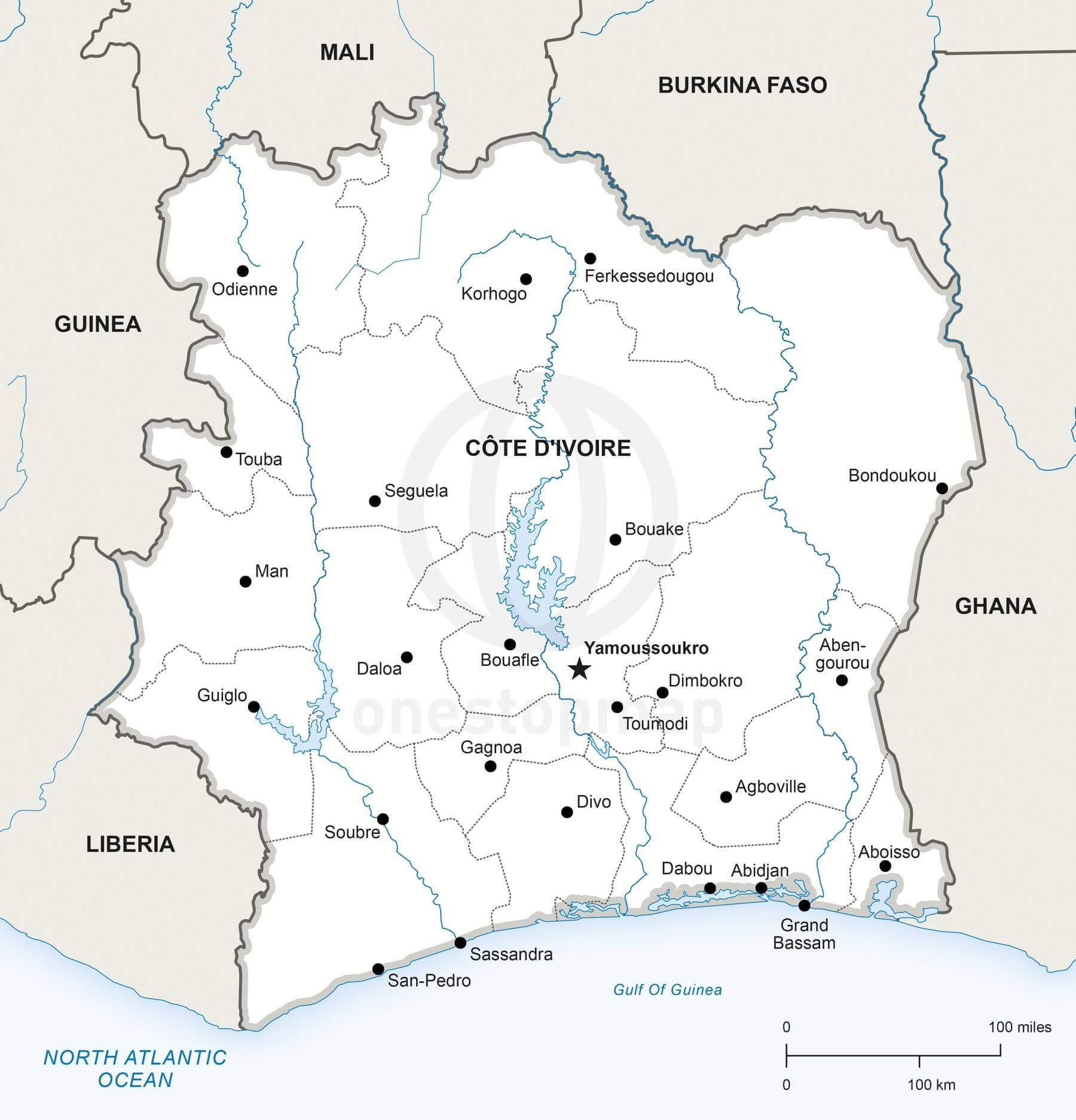 Vector Map of Ivory Coast Political One Stop Map