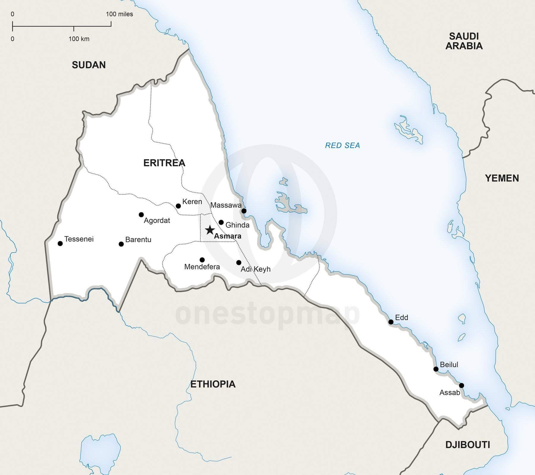 Map of Eritrea political