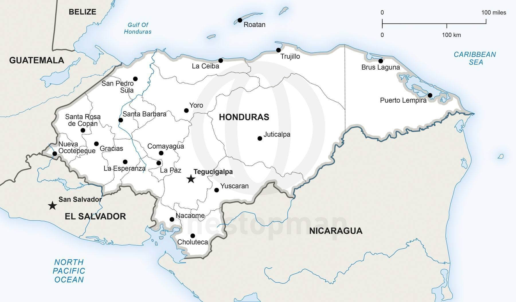 Vector Map Of Honduras Political One Stop Map