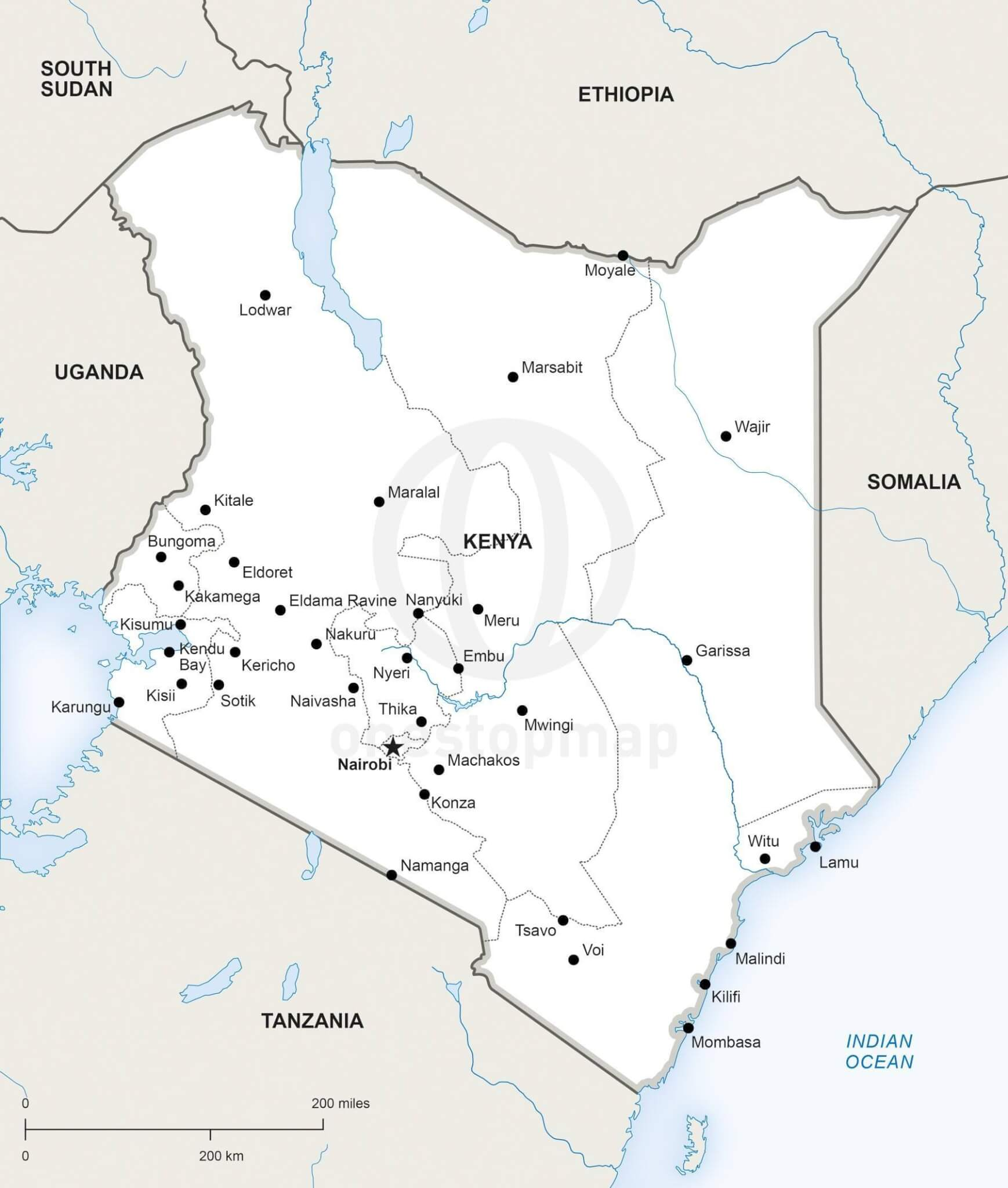 Map of Kenya political
