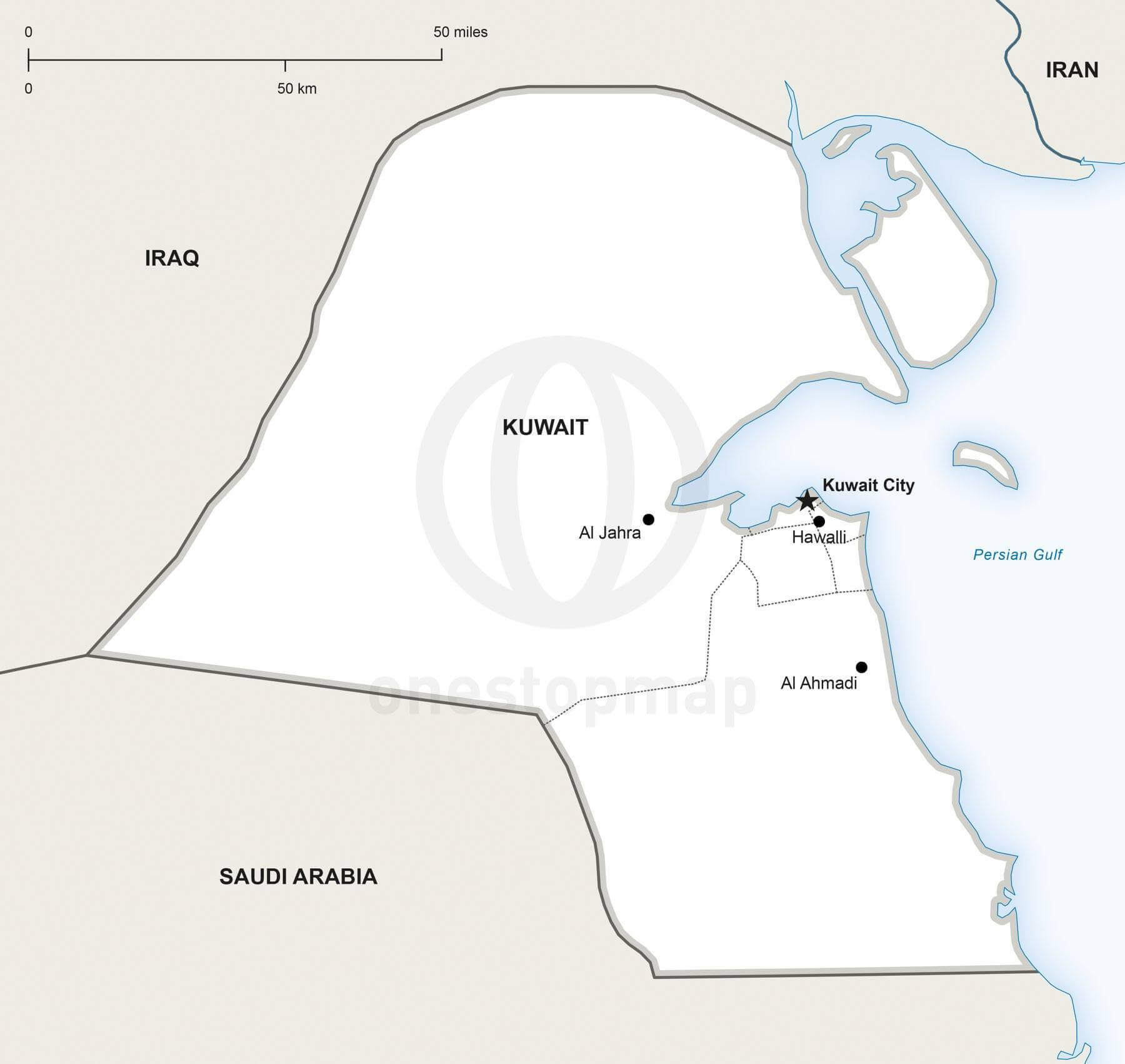 Vector Map Of Kuwait Political One Stop Map - Kuwait map