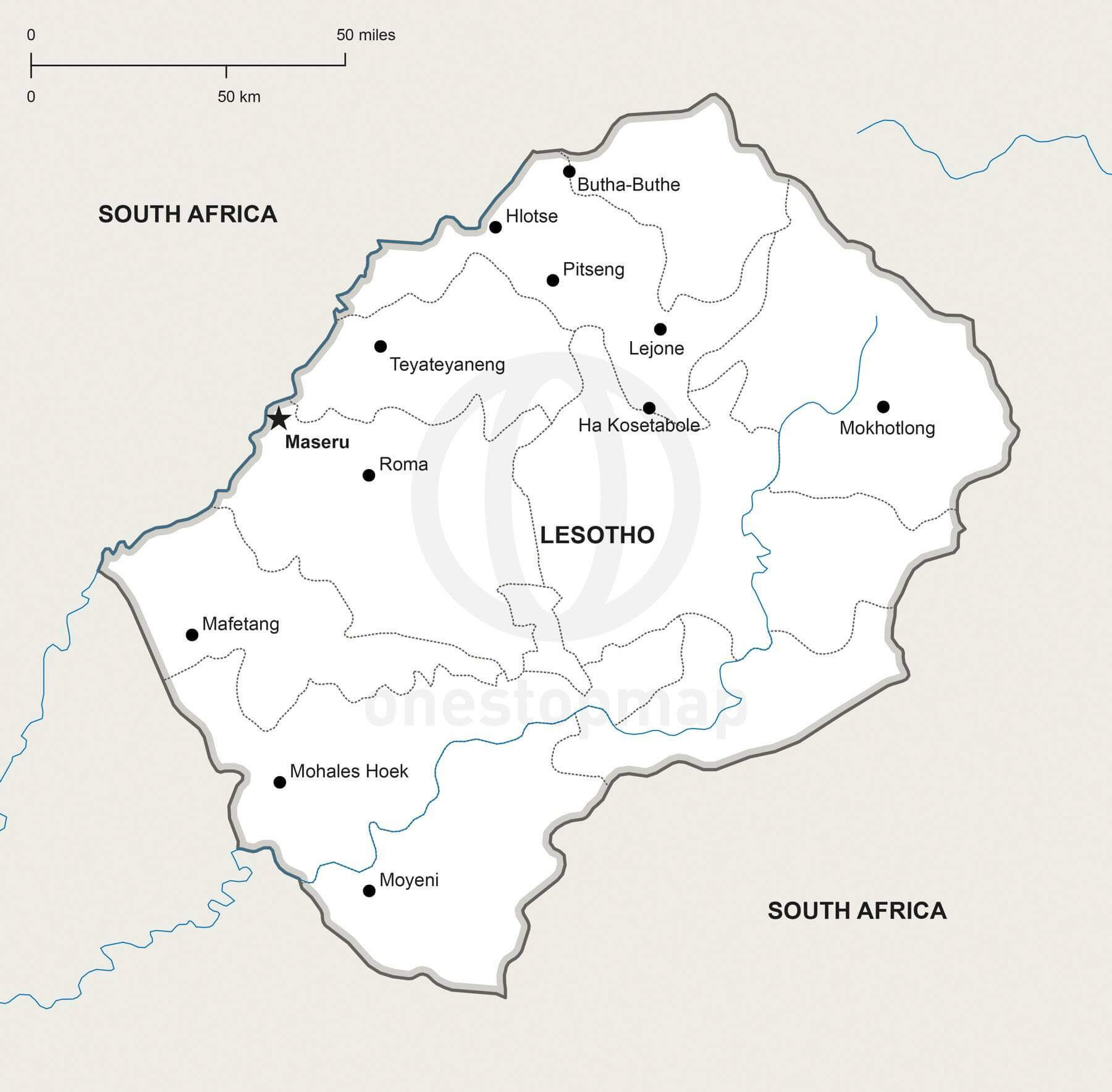 Vector Map Of Lesotho Political One Stop Map - Lesotho maps with countries