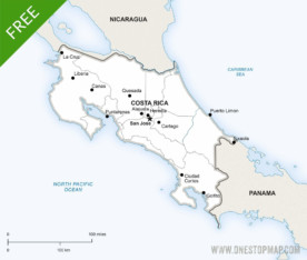 Map of Costa Rica political