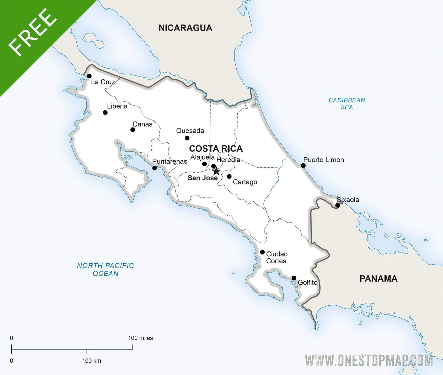 Free Vector Map of Costa Rica Political One Stop Map