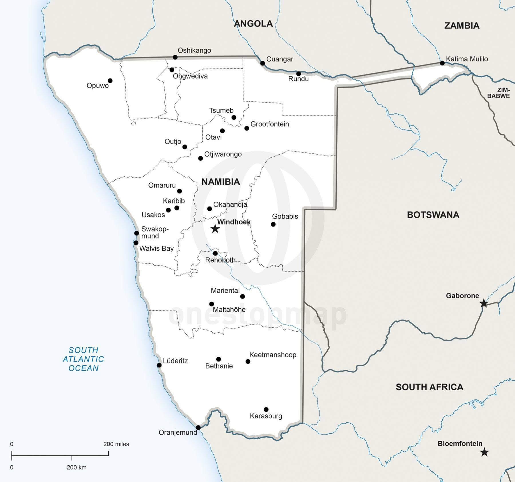 Map of Namibia political