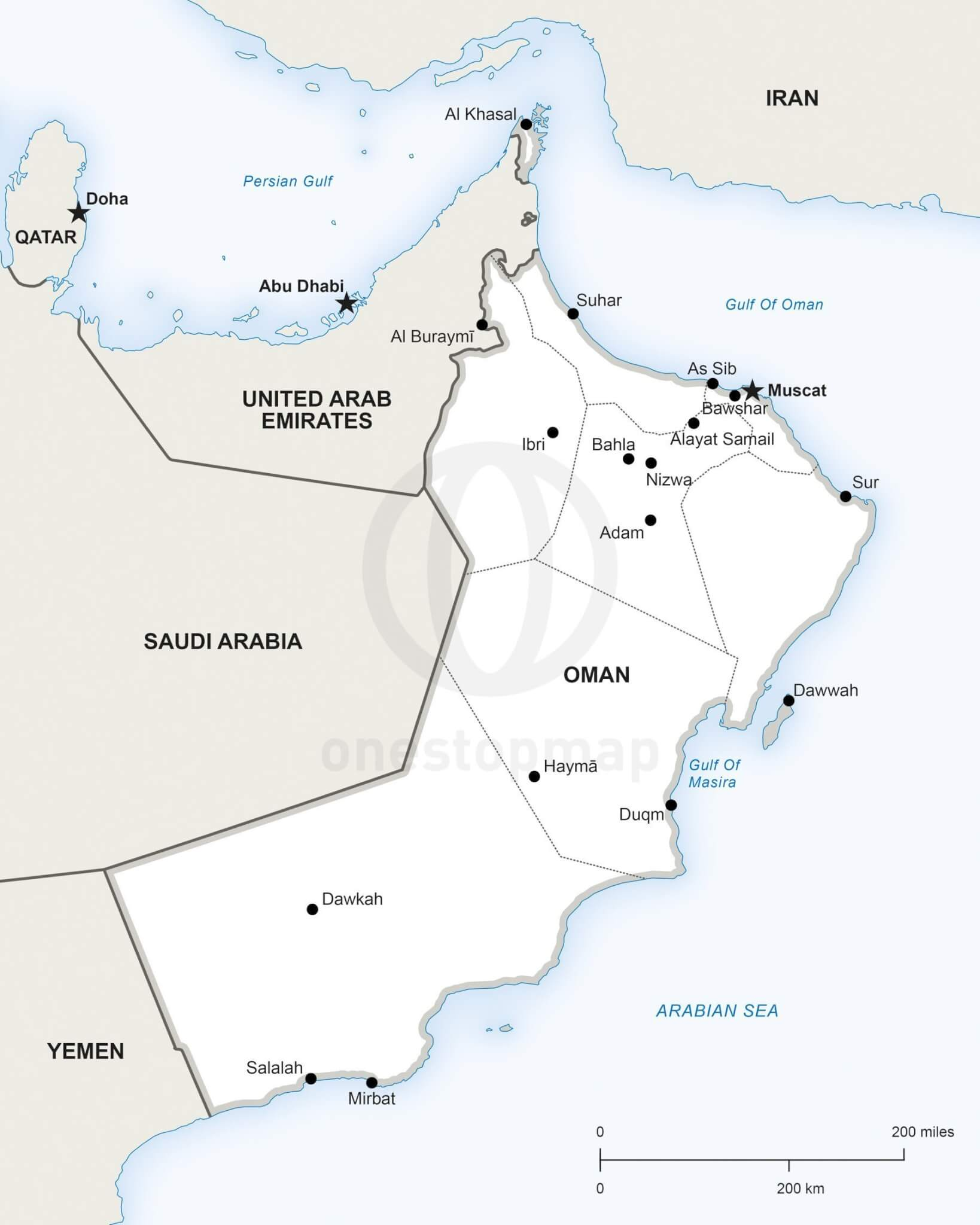 Vector Map of Oman Political One Stop Map