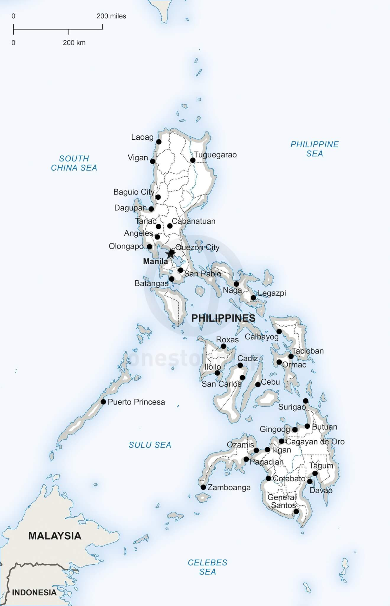 Vector Map Of Philippines Political One Stop Map - Philippines map