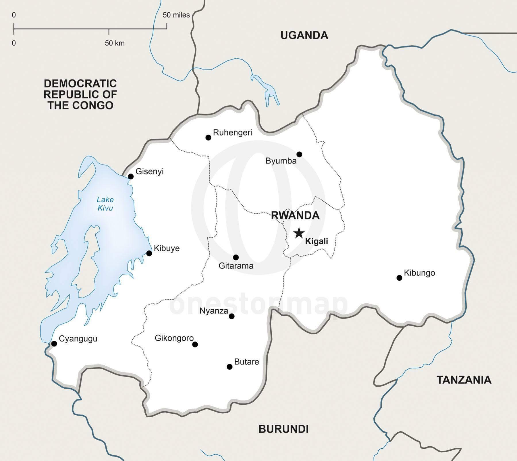 Vector Map of Rwanda Political One Stop Map