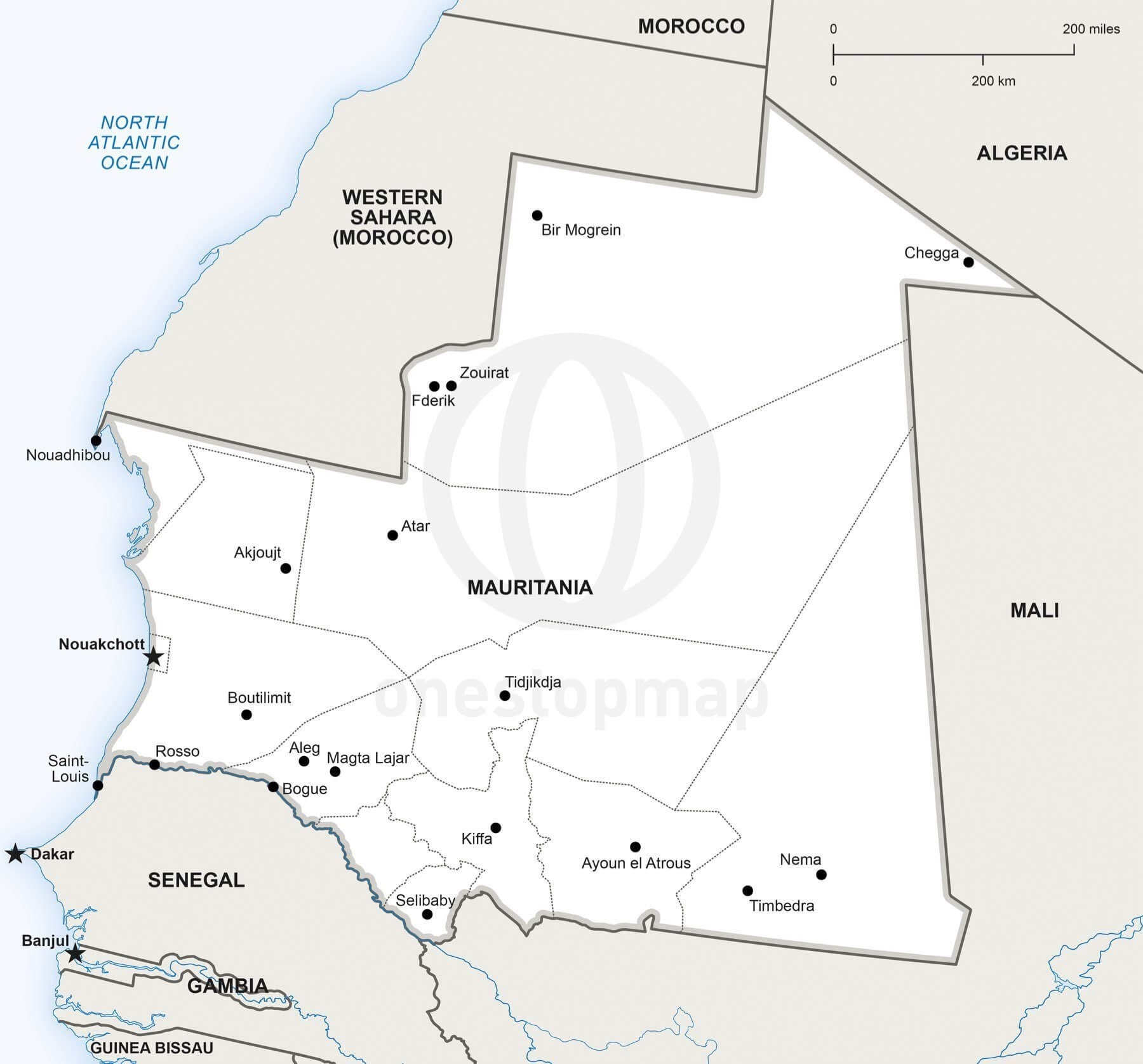 Map of Mauritania political