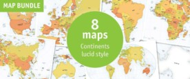 Map bundle continents political lucid style
