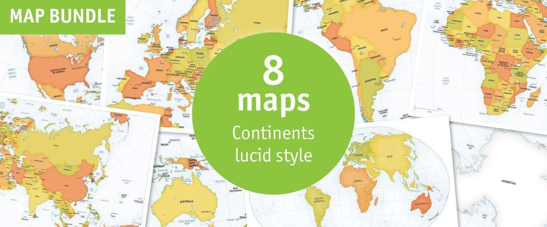 Bundle of 8 continent maps in our Lucid map style