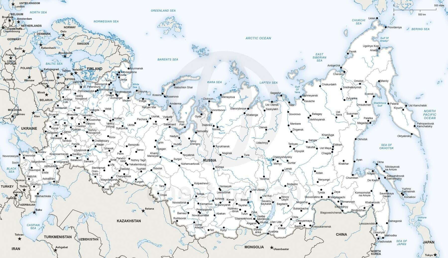 Vector Map of Russia political One Stop Map