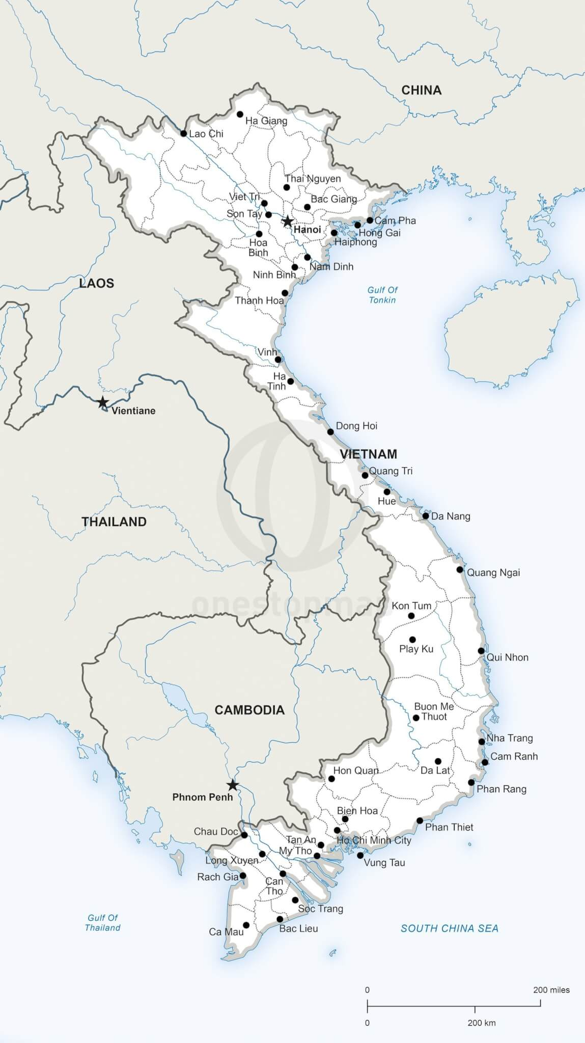 Vector Map of Vietnam political | One Stop Map