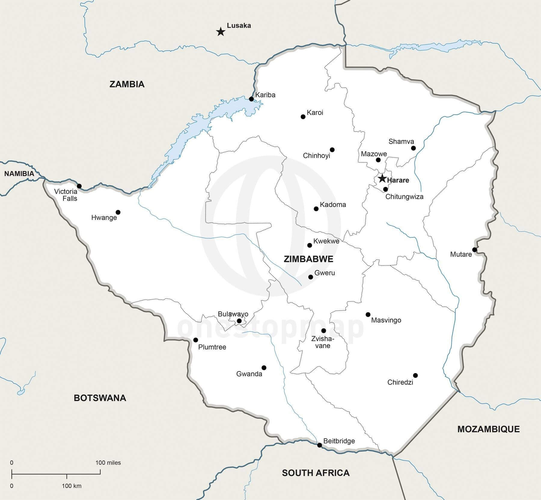 Vector map of Zimbabwe political