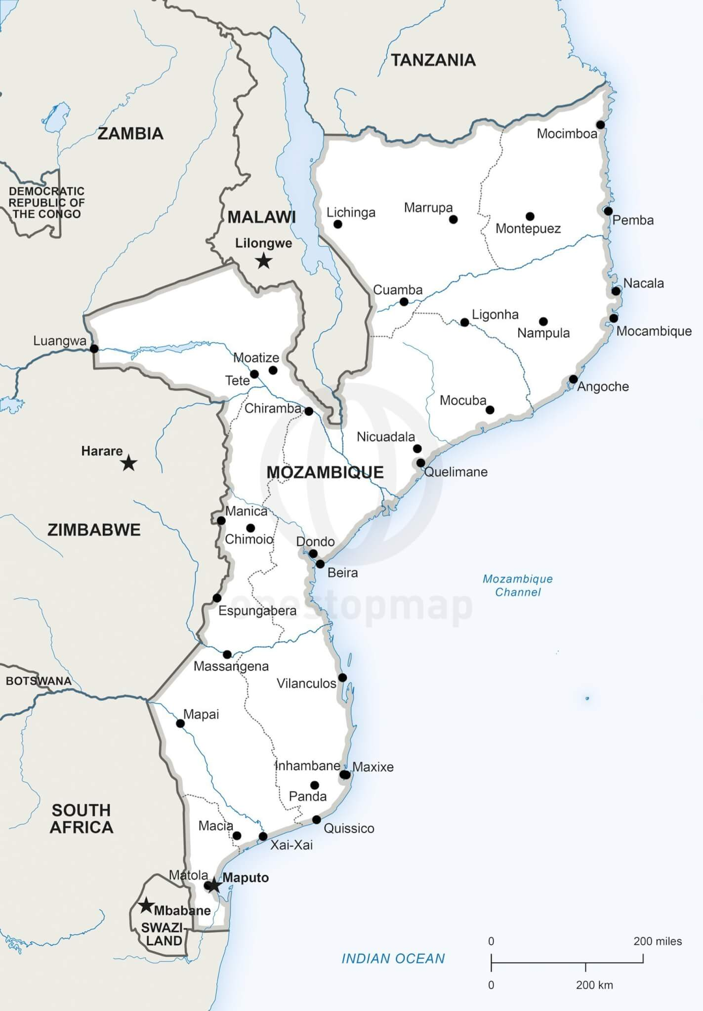 Vector map of Mozambique political