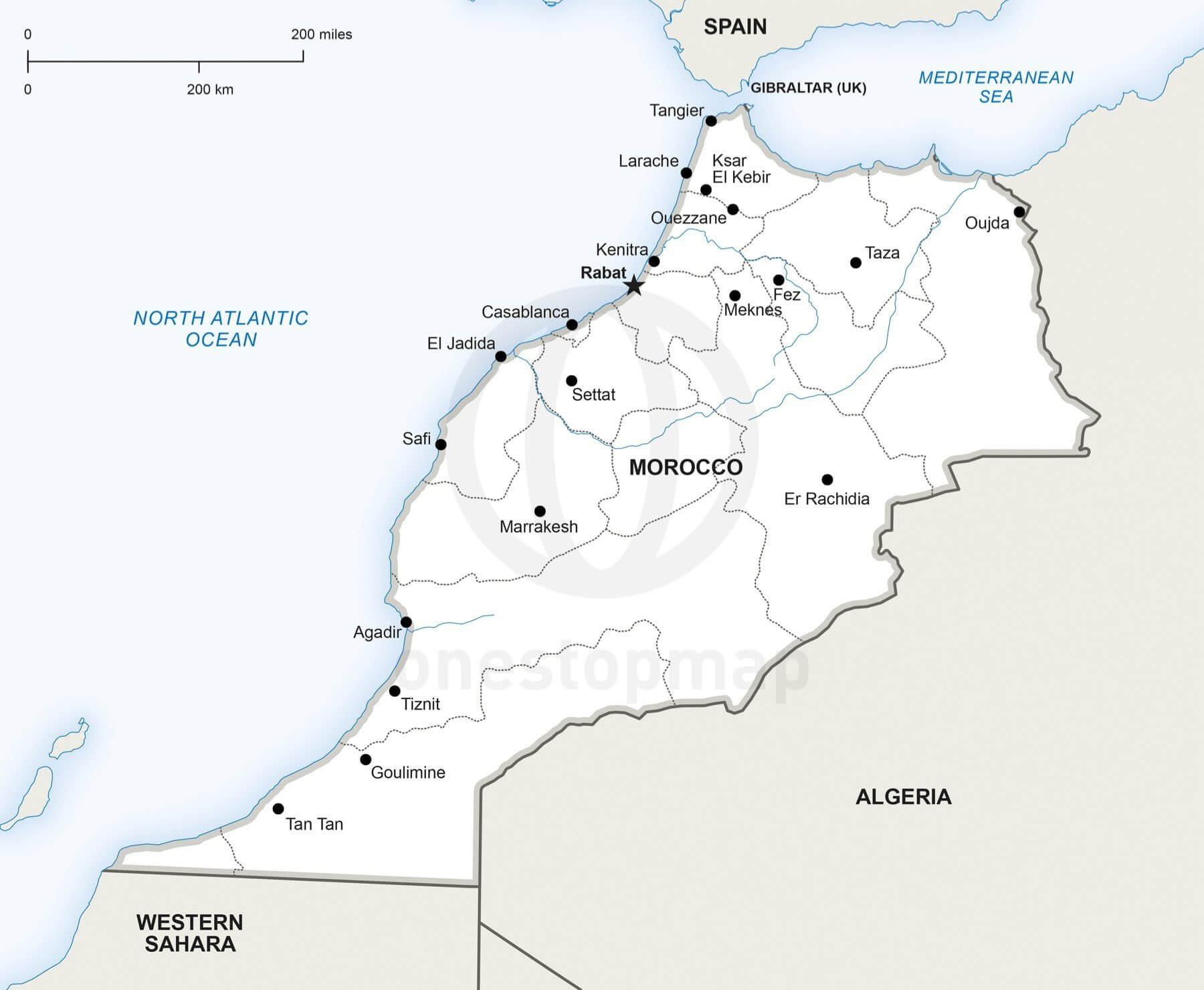 Vector Map Of Morocco Political One Stop Map - Map of morocco