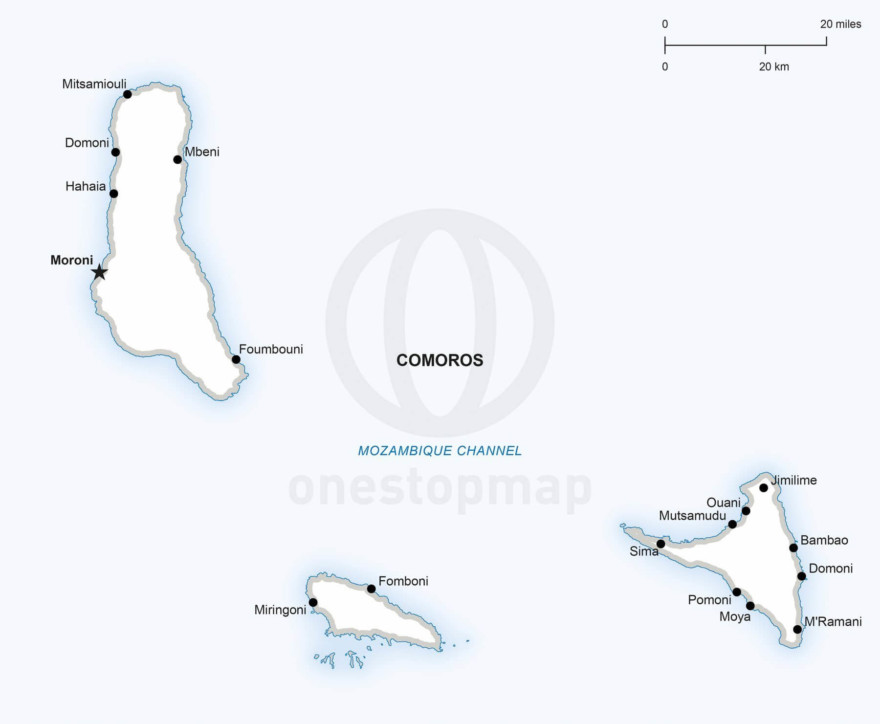 Vector map of Comoros political