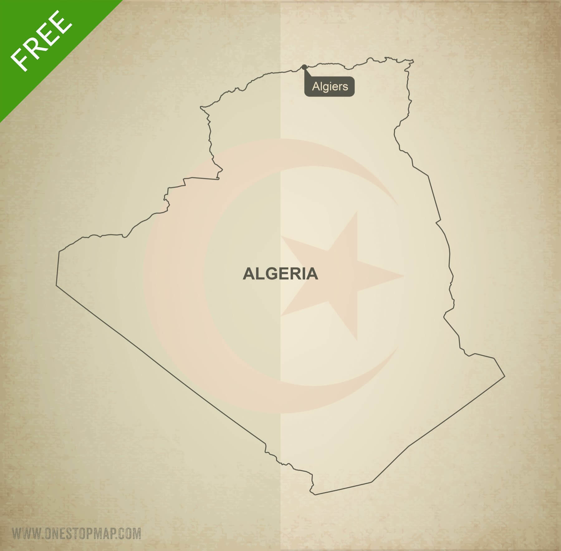 Free vector map of Algeria outline