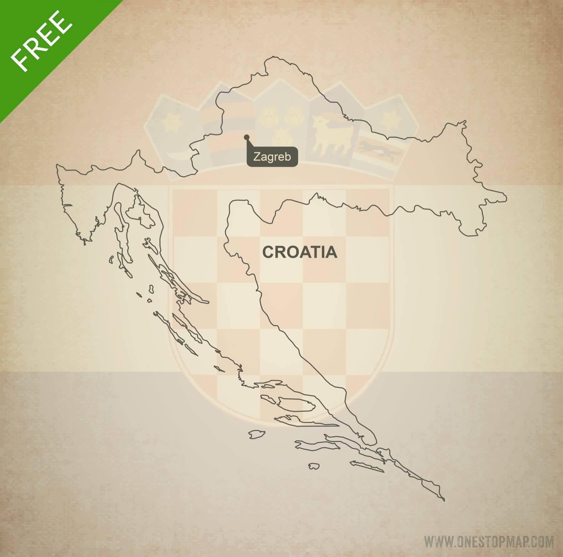 Free Vector Map Of Croatia Outline One Stop Map - Croatia map