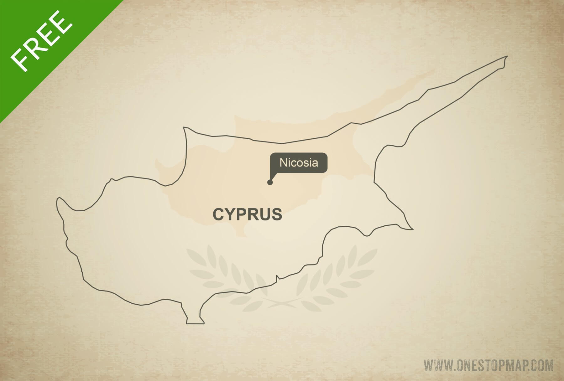 Free vector map of Cyprus outline Free
