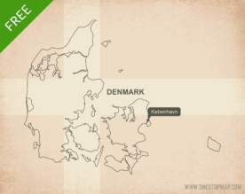 Free vector map of Denmark outline