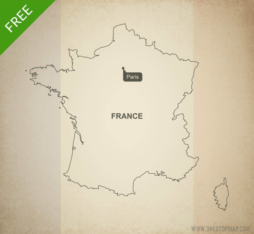 Free vector map of France outline