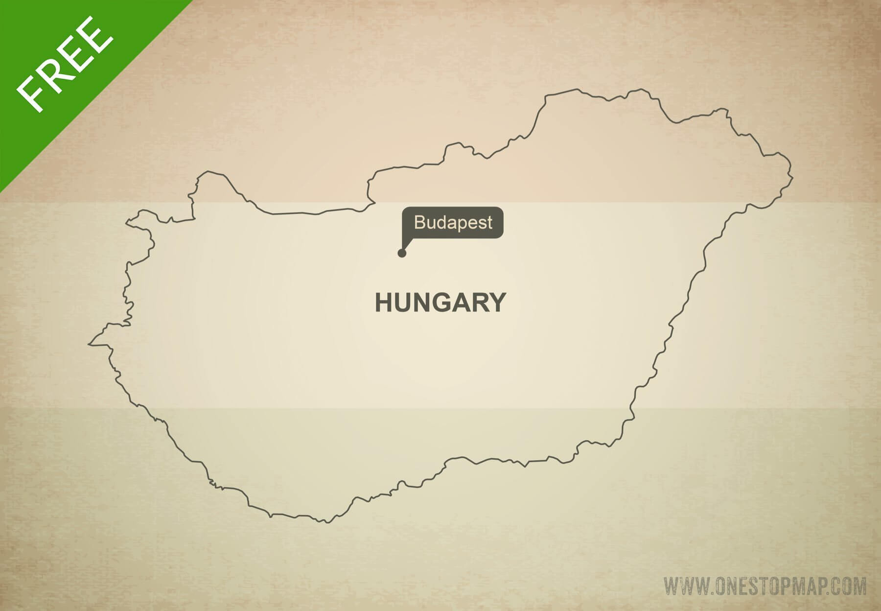 Free Vector Map Of Hungary Outline One Stop Map - Hungary blank map