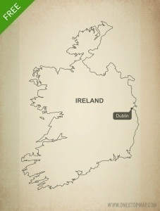 Detailed Map Of Ireland Vector.Free Vector Map Of Ireland Outline One Stop Map
