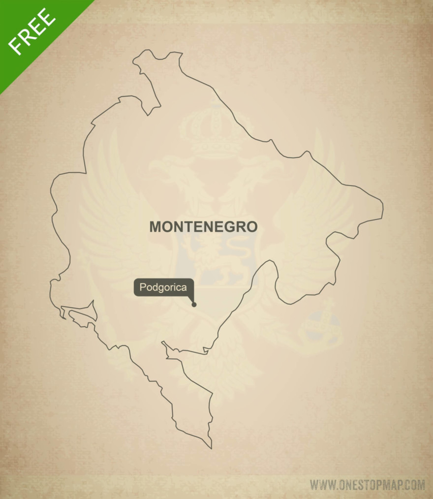 Free vector map of Montenegro outline