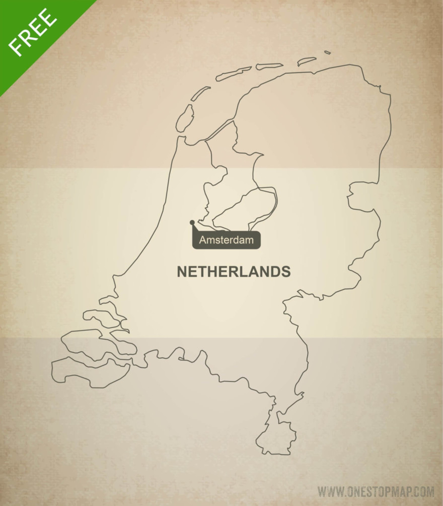 Free vector map of the Netherlands outline