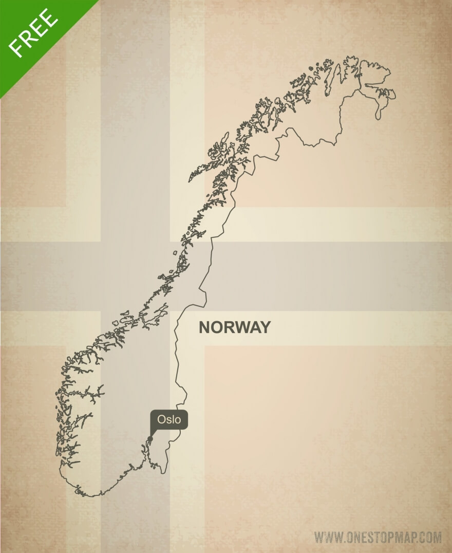 Free vector map of Norway outline