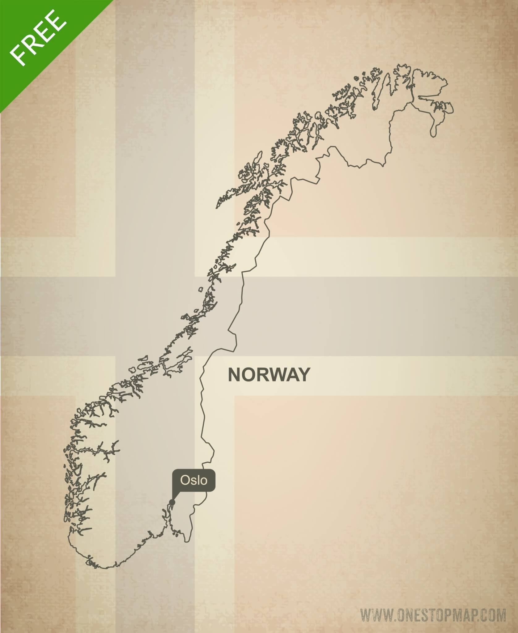 Free Vector Map of Norway Outline One Stop Map