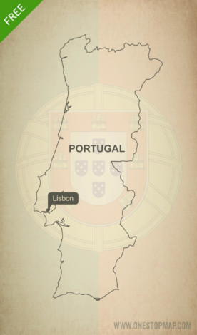 Free vector map of Portugal outline