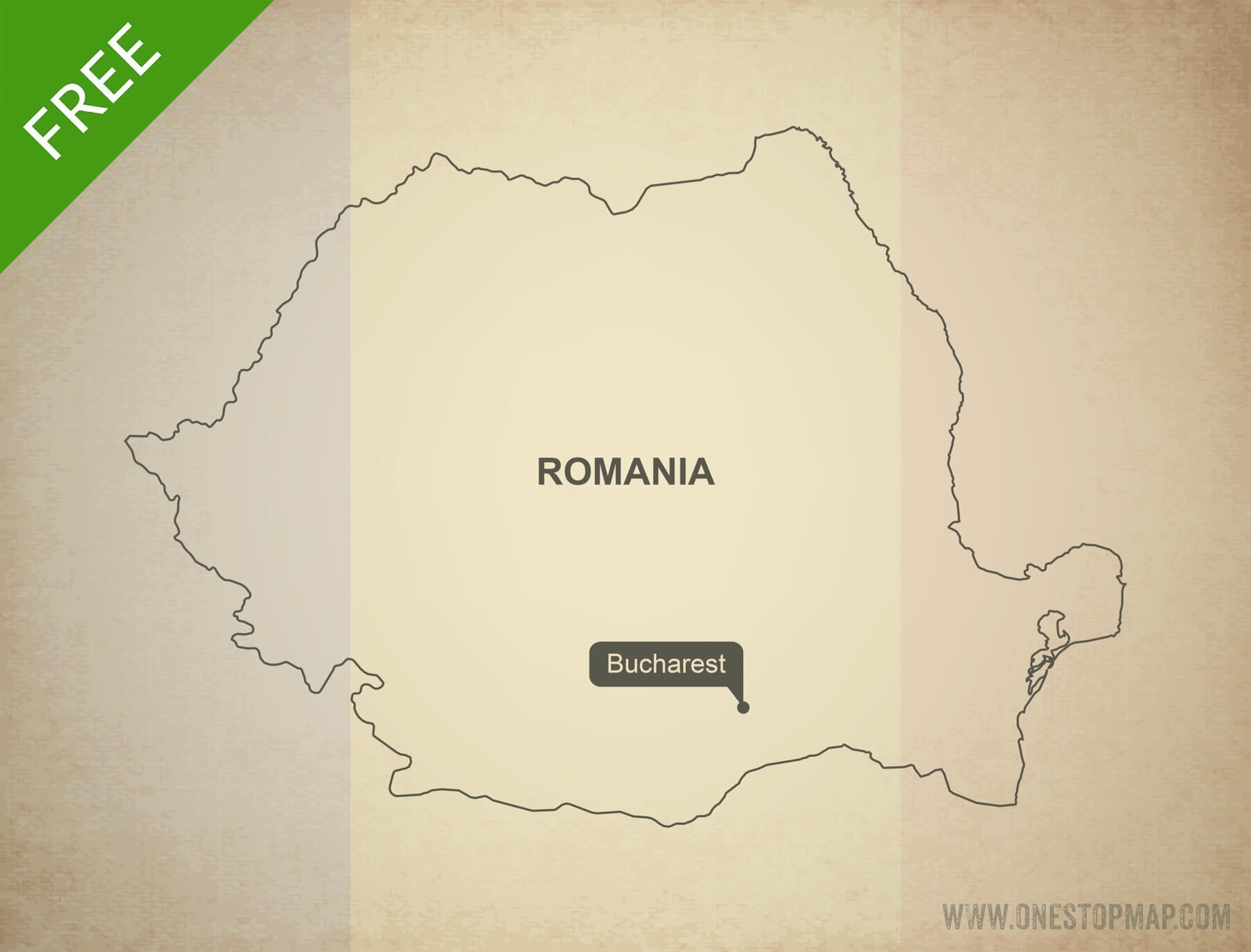Free vector map of Romania outline