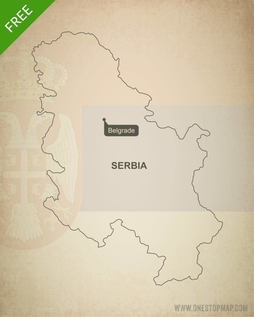 Free vector map of Serbia outline