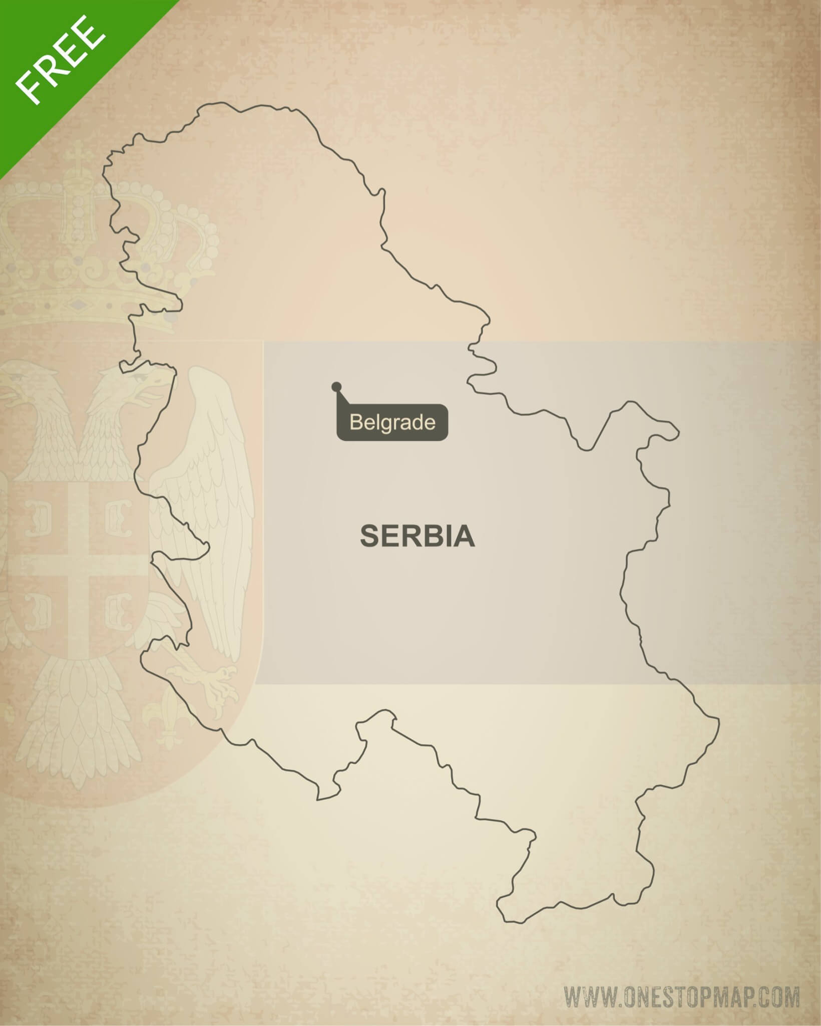 Free Vector Map of Serbia Outline One Stop Map