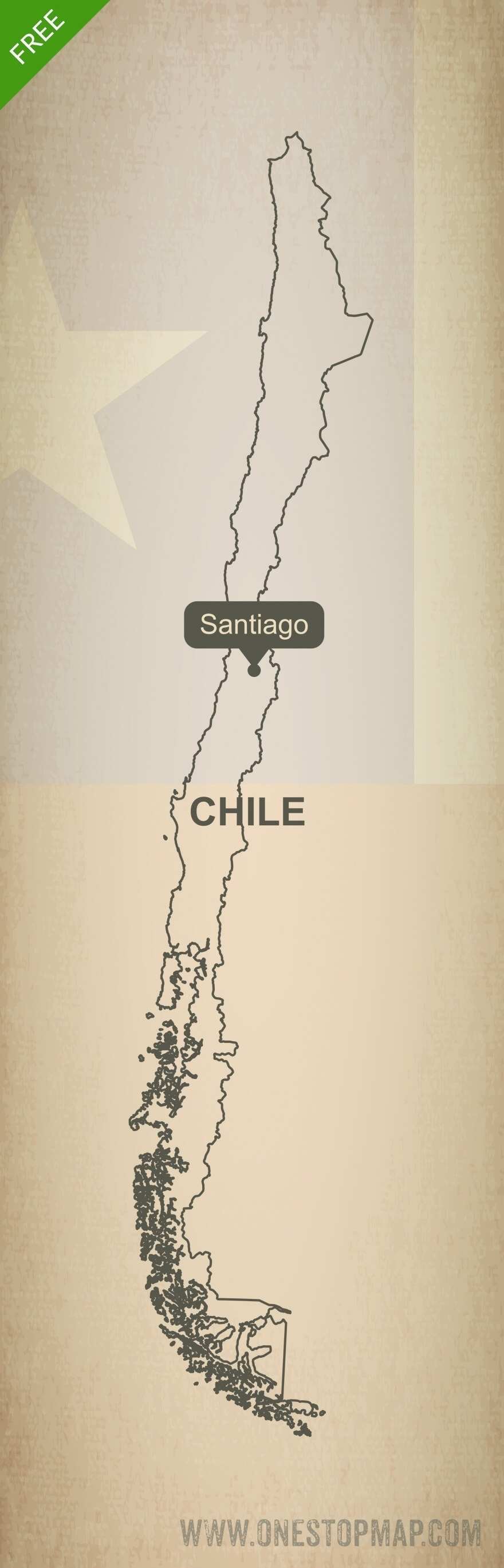 Free Vector Map Of Chile Outline One Stop Map - Map of chile