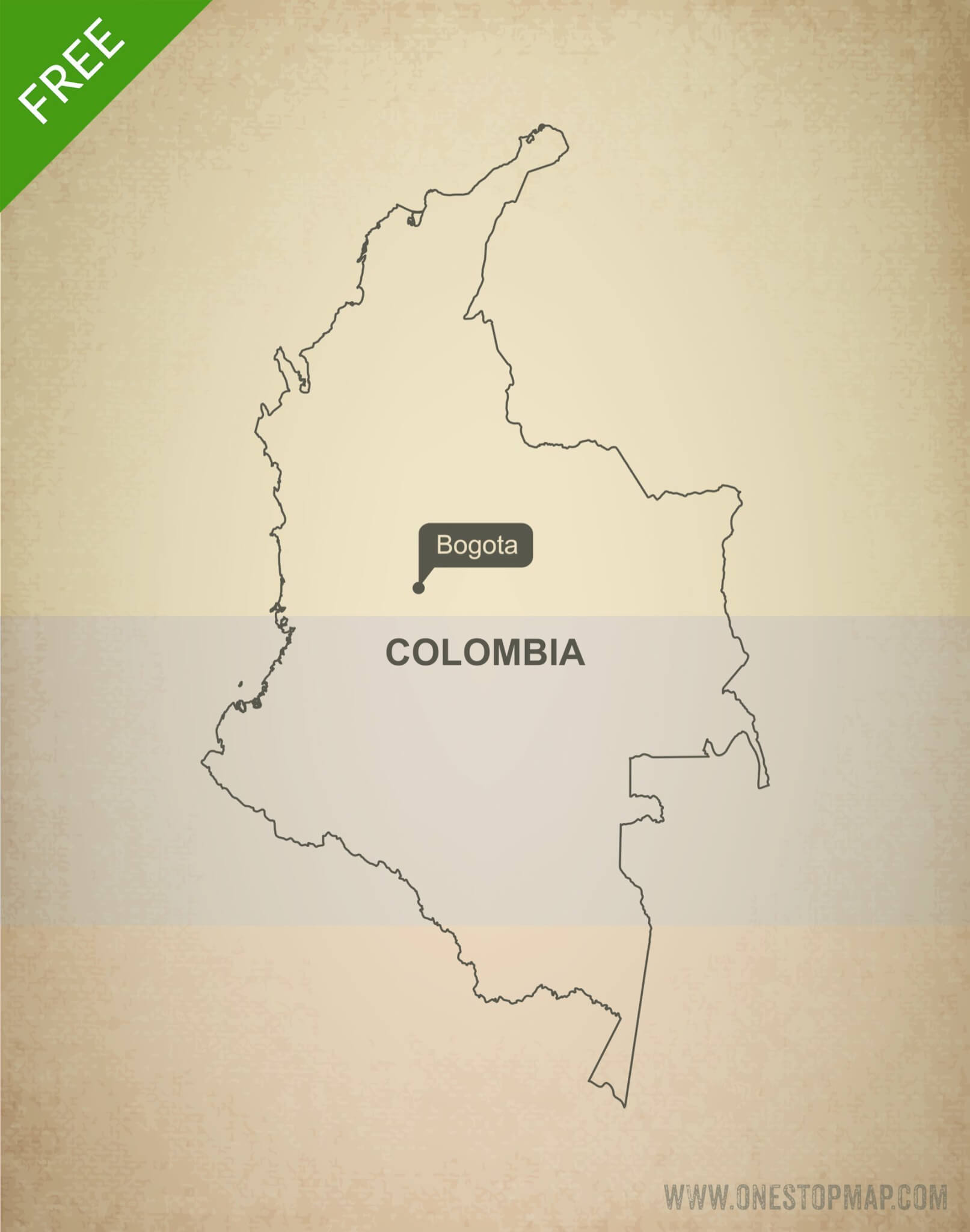 Free vector map of Colombia outline
