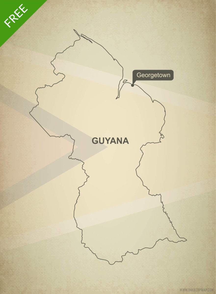 Free vector map of Guyana outline