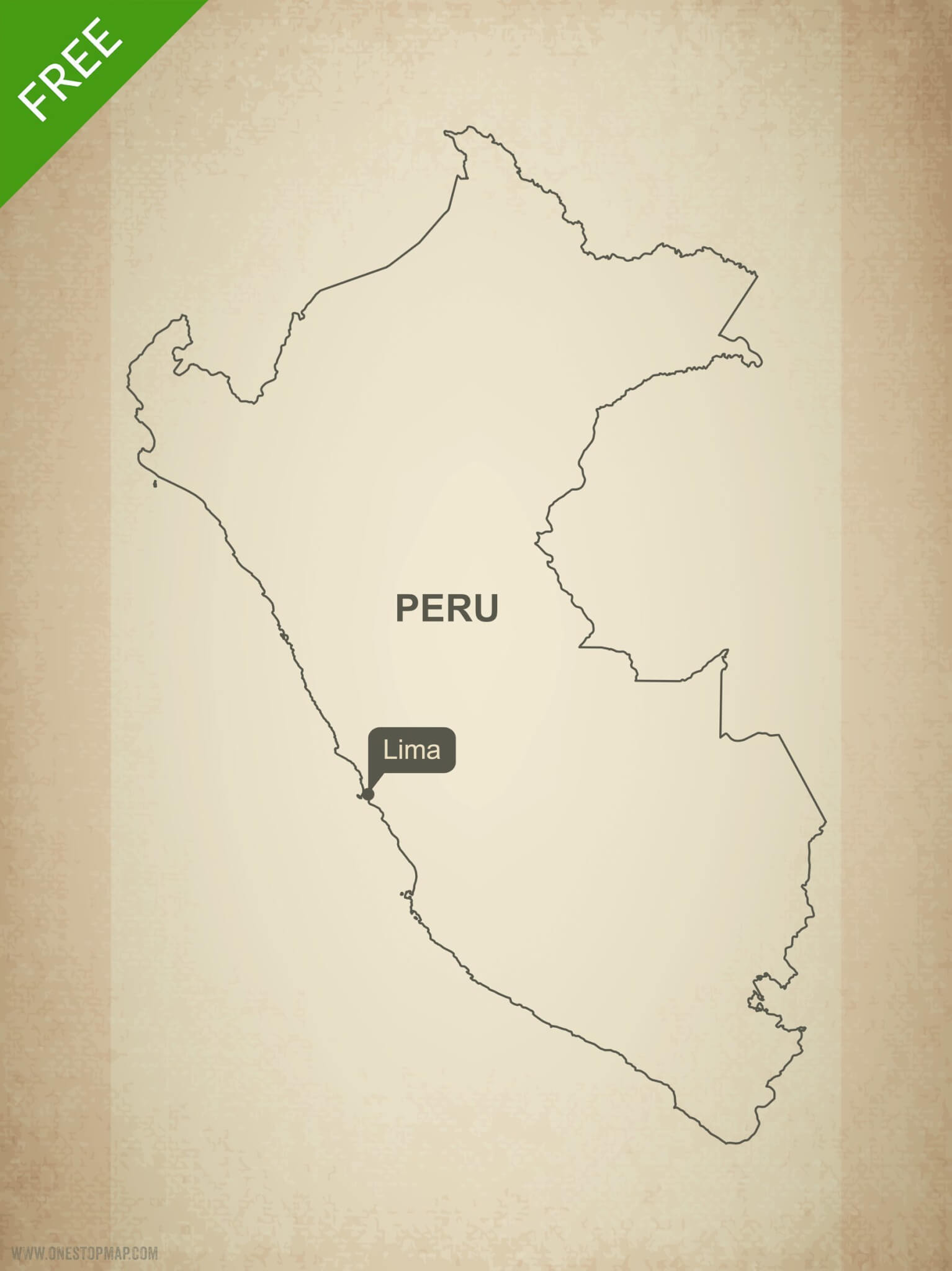 Free Vector Map of Peru Outline | One Stop Map