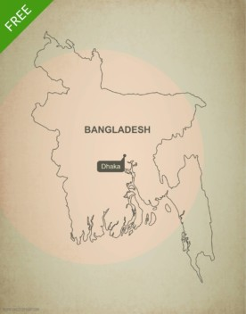 Free vector map of Bangladesh outline