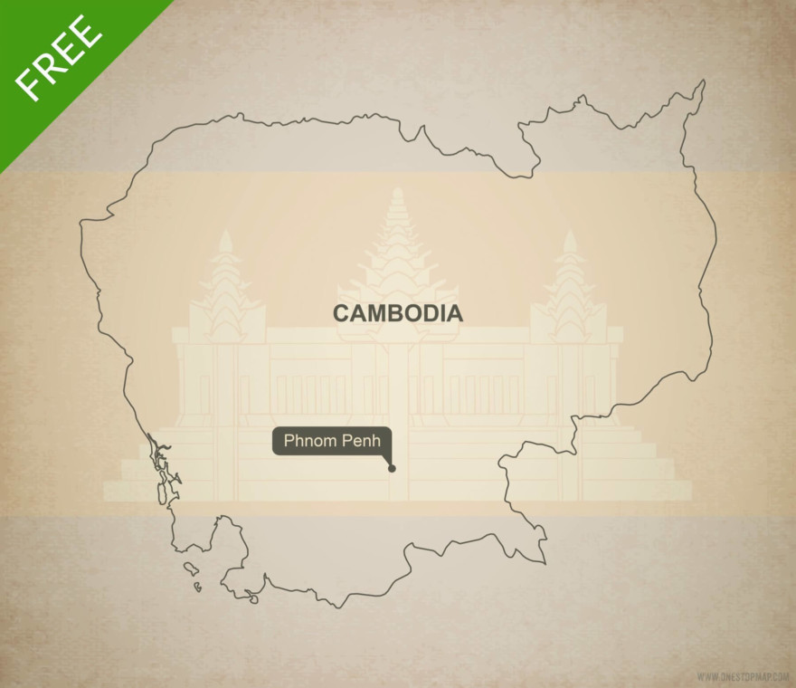 Free vector map of Cambodia outline