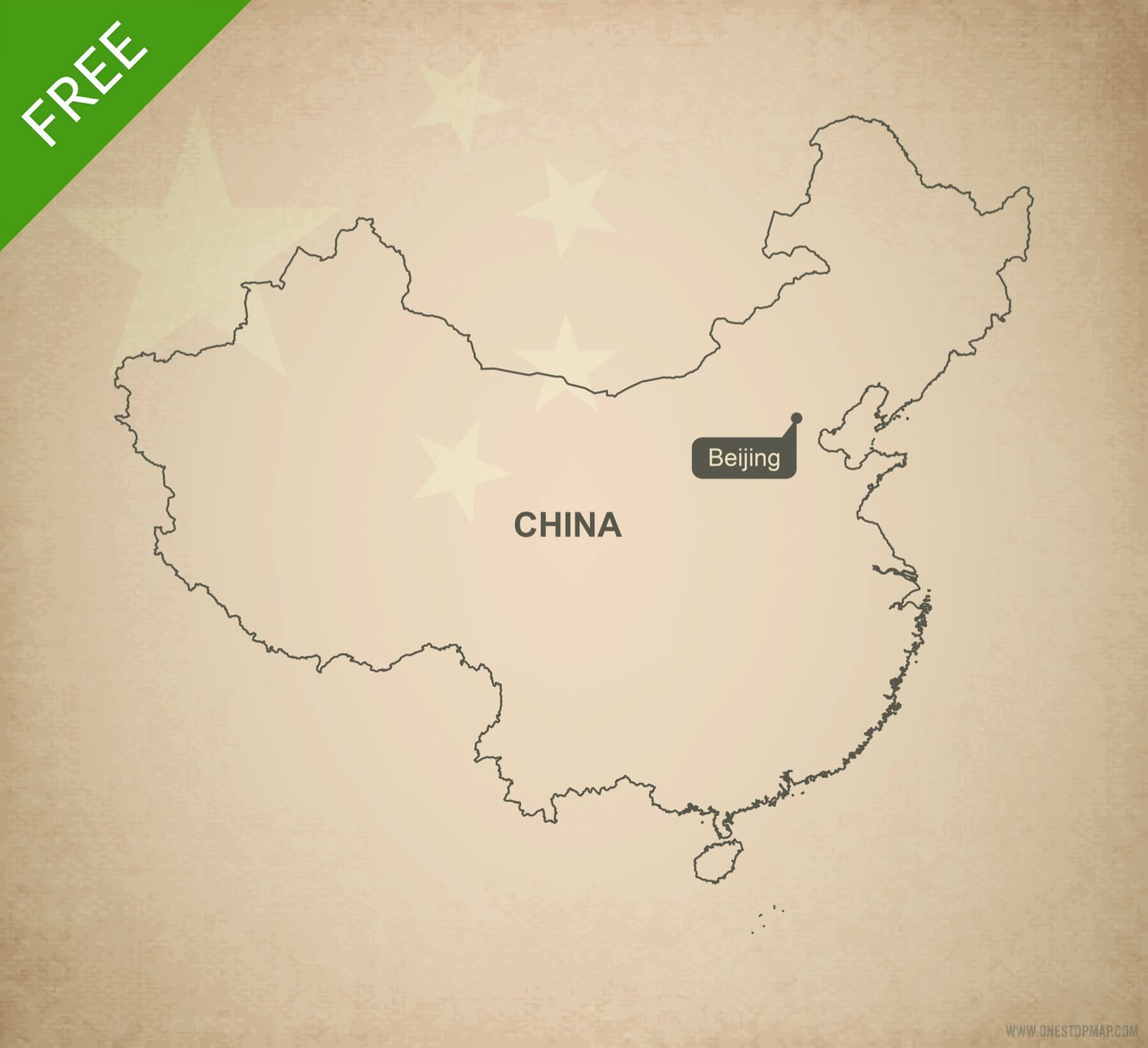 Free Vector Map of China Outline | One Stop Map