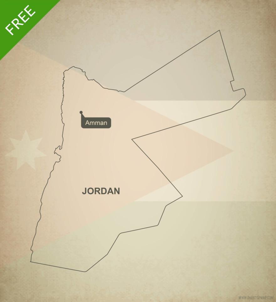 Free vector map of Jordan outline