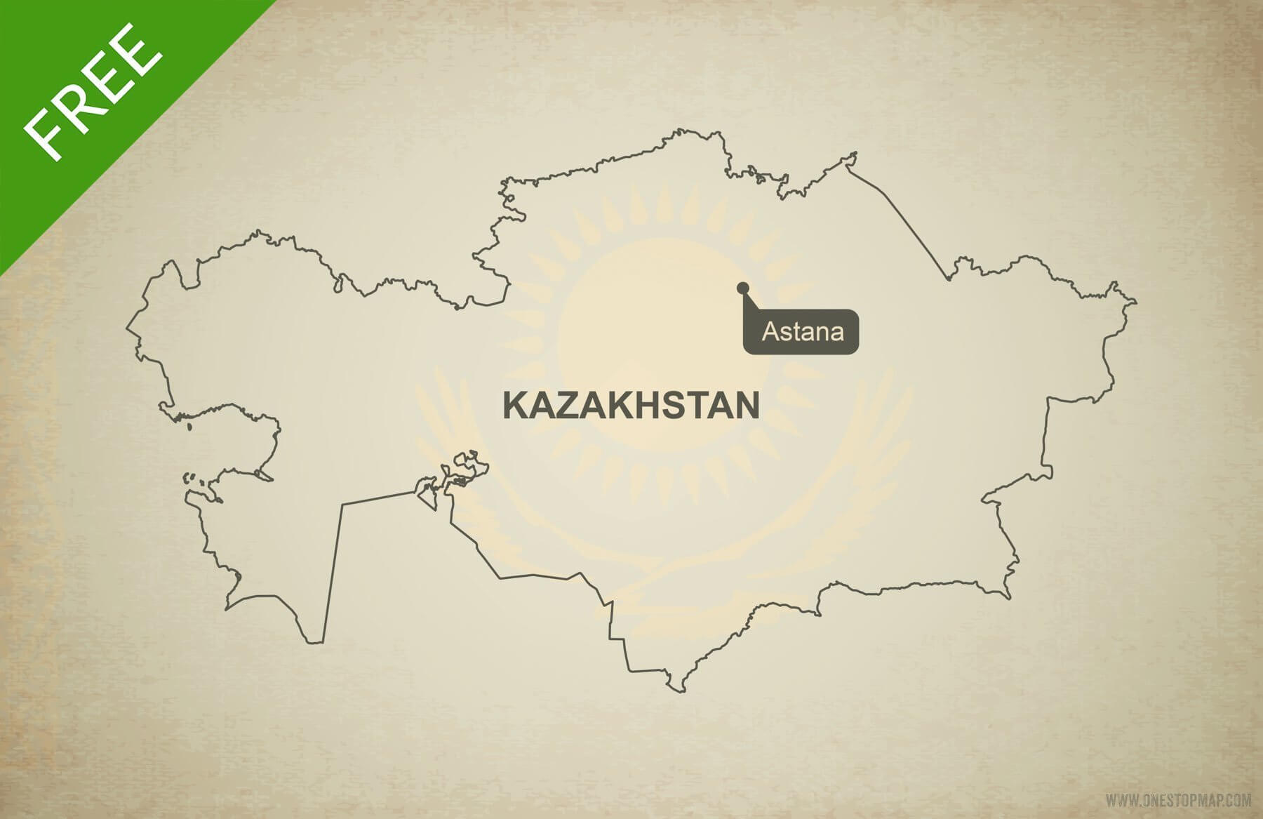 Free vector map of Kazakhstan outline